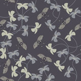 Purple pattern with flowers and cute butterflies silhouette. Stock Photo