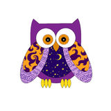 Purple pattern owl. Colorful illustration of a purple and yellow owl with hand-drawn patterns with moon and stars on it's stomach Royalty Free Stock Photo