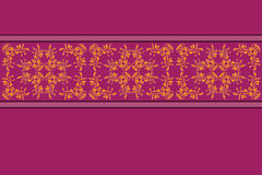 Purple pattern with yellow flower lace Stock Photography