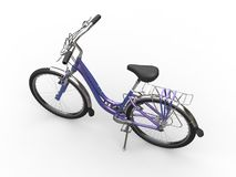 Purple pearlescent old school bicycle. Isolated on white background Royalty Free Stock Photo