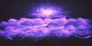 Purple peeking mountain. Abstract purple polygonal mountain peeking through clouds. Creative background. 3D Rendering Stock Photos
