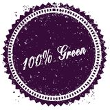 Purple 100 PERCENT GREEN distressed stamp. Illustration image concept Vector Illustration