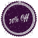 Purple 70 PERCENT OFF distressed stamp. Illustration image concept Royalty Free Stock Photography