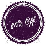 Purple 60 PERCENT OFF distressed stamp. Illustration image concept stock illustration