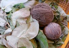 Purple Peruvian Alpaca Wool Yarn Balls Dyed from Local Plants Leaves at Chinchero, the Andes Village in Cuzco Region of Peru. South America royalty free stock image