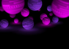 Purple and pink balls black abstract background Stock Photos