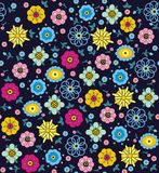 Purple, pink, blue, green and yellow flowers and leaves. A seamless pattern of purple, pink, blue, green and yellow flowers and leaves on a black background Royalty Free Stock Photos