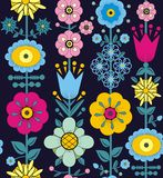 Purple, pink, blue and yellow flowers and leaves. A seamless pattern of purple, pink, blue and yellow flowers and leaves on a black blue background Stock Image