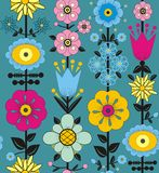 Purple, pink, blue and yellow flowers and leaves. A seamless pattern of purple, pink, blue and yellow flowers and leaves on a blue green background Stock Photo