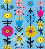Purple, pink, blue and yellow flowers and leaves. A seamless pattern of purple, pink, blue and yellow flowers and leaves on a light blue background Stock Photos