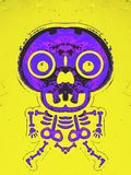 Purple and pink bone structure and skull. With yellow background Royalty Free Stock Photos
