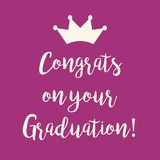 Purple pink Congrats on your Graduation greeting card. Cute purple pink Congrats on your Graduation greeting card with a crown Royalty Free Stock Photography