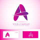 Purple pink 3d letter A logo Royalty Free Stock Photos