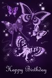 Purple butterfly birthday card stock image