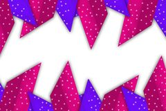 Purple and pink dotted triangle overlap, abstract background Stock Images