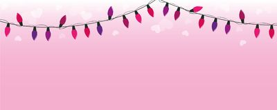 Purple and pink fairy lights on pink background with hearts vector illustration