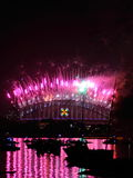 Purple pink fireworks display on Harbour Bridge Royalty Free Stock Photos