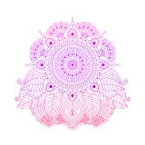 Purple and pink floral mandala vector. Purple pink gradient colored mandala, line art, bright floral ornament in boho style, or hippie, gipsy, isolated on white vector illustration