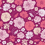 Purple pink flower silhouettes seamless pattern background Royalty Free Stock Image