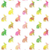 Purple Pink Green Bunnies Watercolor Background Bunny Pattern Stock Photography