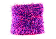 Purple and pink hairy pillow Royalty Free Stock Photo