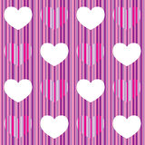 Purple pink heart seamless pattern. T, may be used like wrapping paper Vector Illustration