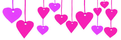 Purple pink heart shapes Isolated on white background Royalty Free Stock Photo