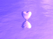 Purple pink heart on water reflection Royalty Free Stock Photos