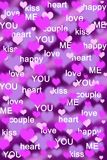 Purple and pink hearts background with love words Stock Photos
