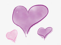 Purple and pink hearts Stock Image