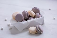 Purple macaroons in the box. royalty free stock images