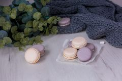 Purple macaroons on the table. stock photo