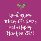 Purple pink Merry Christmas and Happy New Year greeting card wit. H a holly branch Royalty Free Stock Photos