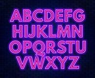 Purple pink neon alphabet on a dark background . Capital letter. Vector illustration stock illustration