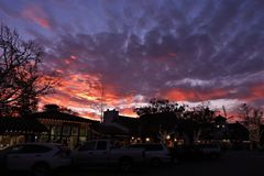 Colorful Dramatic Sunset Over Solvang Danish Town in California stock image