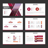 Purple pink red elegance business trifold business Leaflet Brochure Flyer template vector minimal flat design. Set Stock Image