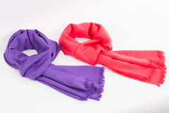 Purple and pink scarves Stock Images