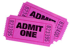 Purple pink admit one movie tickets isolated white background Stock Photography