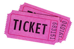 Purple pink movie ticket pair isolated white background Royalty Free Stock Photo
