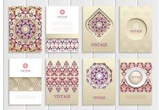 Purple, pink vintage frames, ornaments, patterns Stock Images