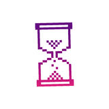 Purple pixel hourglass icon. Illustraction design Royalty Free Stock Image