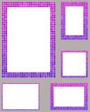 Purple pixel mosaic page layout border set. Pink and purple pixel mosaic page layout border template set Stock Images