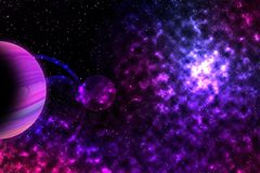 Purple Planet in spce vector illustration