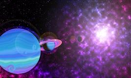 Purple Planet in spce stock illustration