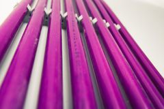 Purple plastic pipes Stock Image