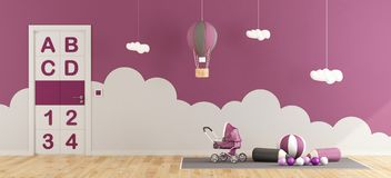 Purple playroom for baby girl Royalty Free Stock Photography