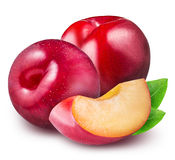 Purple plum with leaf isolated on white background Stock Photo