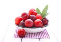 Purple plums with leaves Royalty Free Stock Image