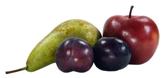 Purple plums pear and apples Stock Photography