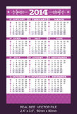 Purple pocket calendar 2014 VECTOR SIZE: 2.4 Stock Image